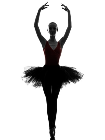 ballerina: one caucasian young woman ballerina ballet dancer dancing with tutu in silhouette studio on white background