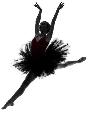 ballet tutu: one caucasian young woman ballerina ballet dancer dancing with tutu in silhouette studio on white background
