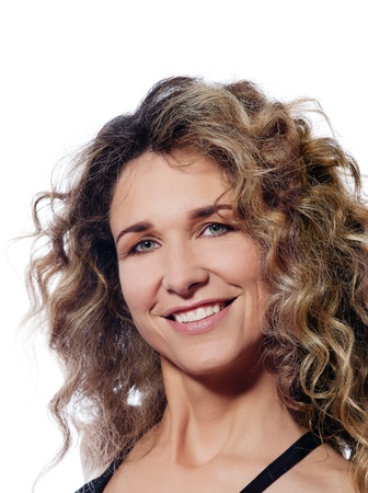 woman 40 years: beautiful caucasian woman happy portrait isolated studio on white background