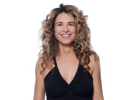 beautiful caucasian woman smiling happy portrait isolated studio on white background Stock Photo - 15091091