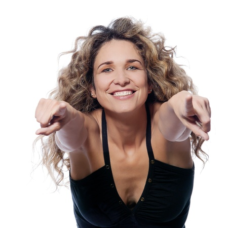 beautiful caucasian woman happy pointing portrait isolated studio on white background photo