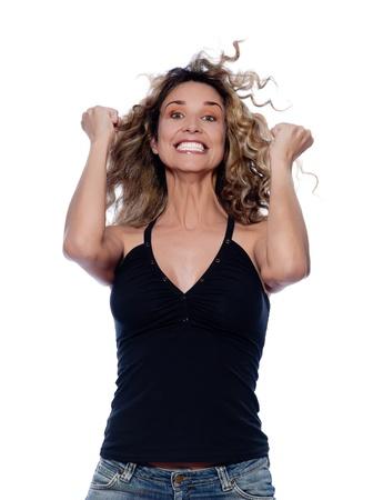 beautiful caucasian woman happy success portrait isolated studio on white background photo