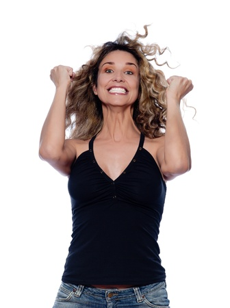 beautiful caucasian woman happy success portrait isolated studio on white background Stock Photo - 15091092