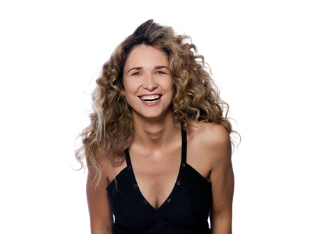 beautiful caucasian woman laughing happy portrait isolated studio on white background Stock Photo - 15091143