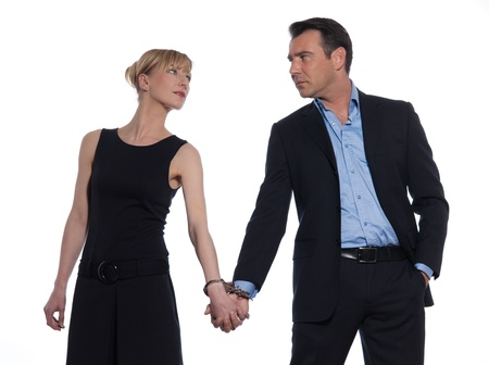 beautiful caucasian couple on studio white background photo