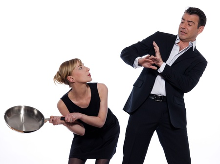 discord: beautiful caucasian couple on studio white background in funny conflict