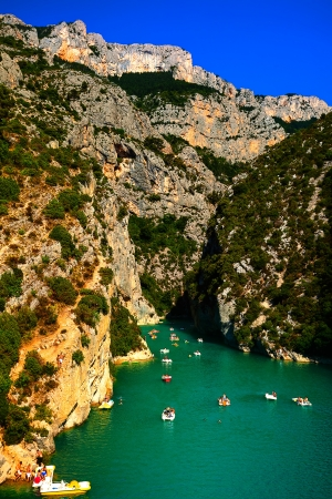 beautiful view of the verdon gorge canion in var france photo