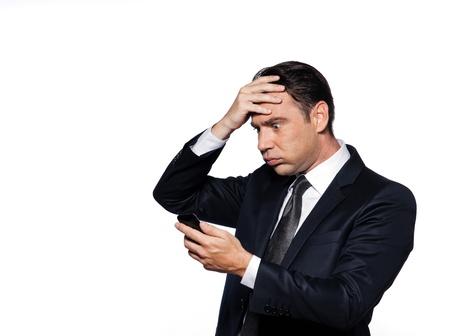 desperate: apuesto hombre cauc�sico estudio retrato aislado en fondo blanco