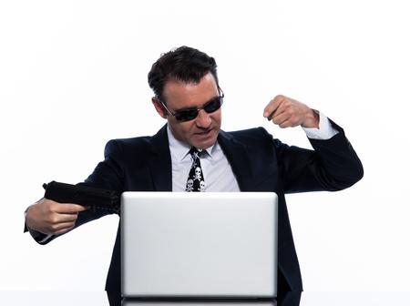 man caucasian hacker computer attack isolated studio on white background photo