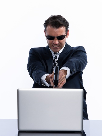 computer problem: man caucasian hacker computer attack isolated studio on white background