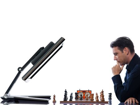 chess men: caucasian man playing chess with computer reflective  concept on isolated white background Stock Photo