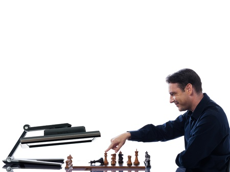 vanquish: caucasian man winning chess against computer fail concept on isolated white background