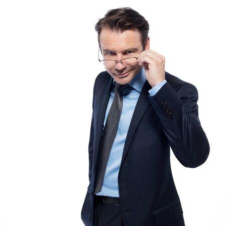 beckon: man businessman cheerful smiling holding glasses isolated studio on white background Stock Photo
