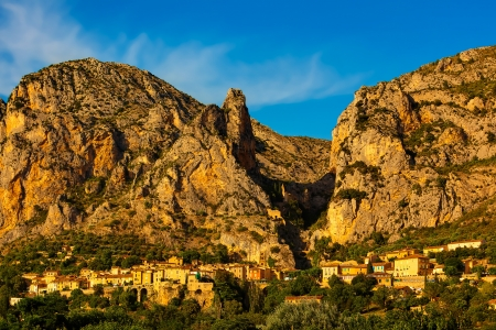 gorges: beautiful village of moustier in the verdon gorge canion  var france