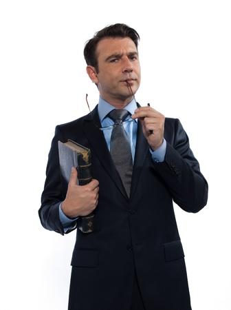 interrogativa: hombre cauc�sico maestro mirando a la c�mara interrogativo estudio aislado sobre fondo blanco