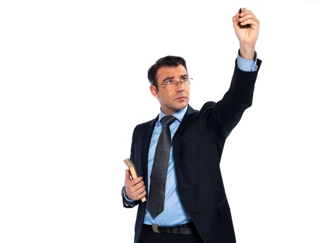 lecturing: man caucasian professor lecturing writing on board isolated studio on white background Stock Photo