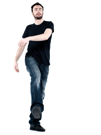 arrogant: strange man attitude man on isolated white background Stock Photo