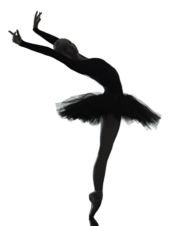 one caucasian young woman ballerina ballet dancer dancing with tutu in silhouette studio on white background Stock Photo - 15089542