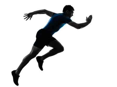 man side view: one caucasian man runner running sprinter sprinting  in silhouette studio  isolated on white background
