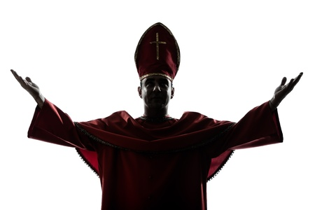 bishop: one man cardinal bishop silhouette saluting blessing in studio isolated on white background