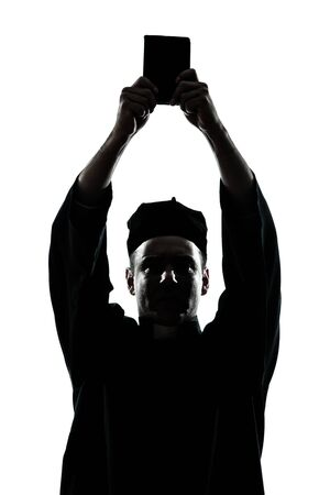 one caucasian man priest wrath of god  silhouette in studio isolated on white background photo