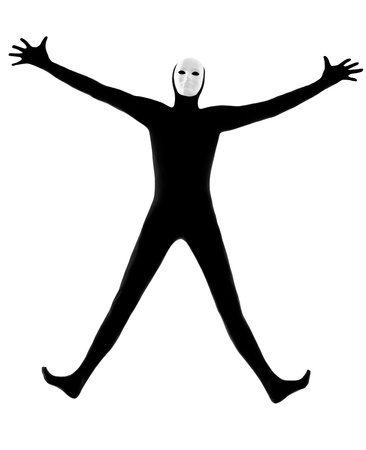 performer man mime with mask  happy saluting on studio isolated on white background photo