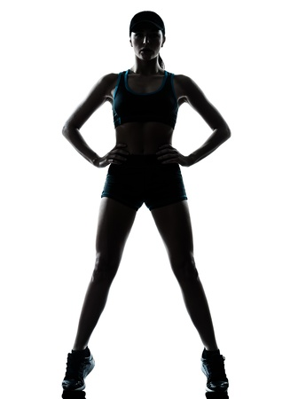 joggers: one caucasian woman runner jogger in silhouette studio isolated on white background