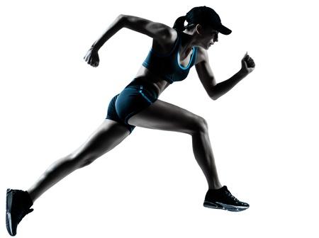 ジョグ: 白い背景で隔離のシルエット スタジオで実行されている 1 つの白人女性ランナー ジョガー 写真素材
