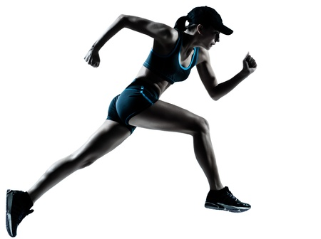 jogger: one caucasian woman runner jogger running in silhouette studio isolated on white background