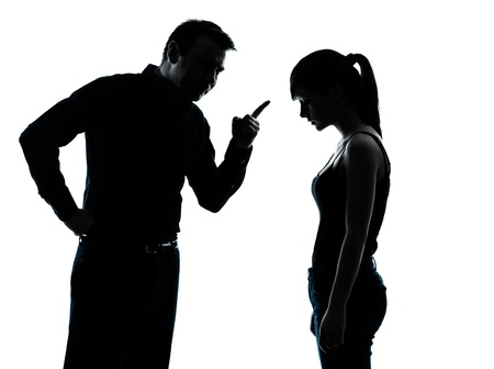brat: one man and teenager girl dispute conflict  in silhouette indoors isolated on white background