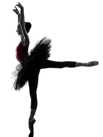 tutu: one caucasian young woman ballerina ballet dancer dancing with tutu in silhouette studio on white background