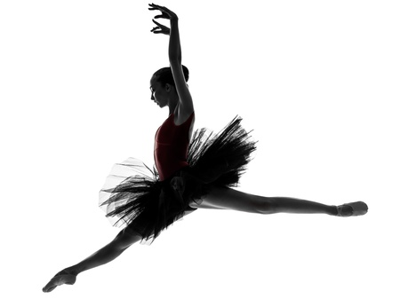 one caucasian young woman ballerina ballet dancer dancing with tutu in silhouette studio on white background photo