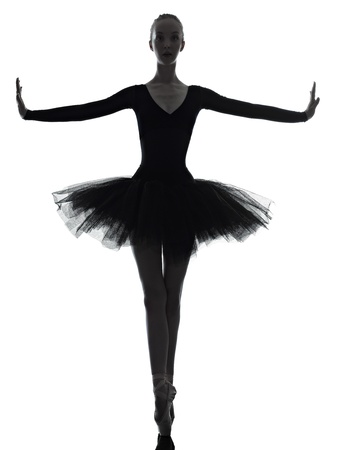 one caucasian young woman ballerina ballet dancer dancing with tutu in silhouette studio on white background Stock Photo - 15480189