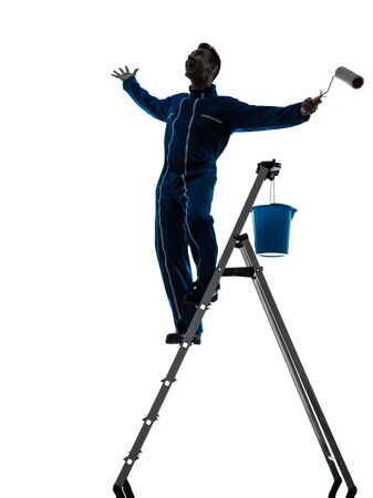 one caucasian man house painter worker silhouette in studio on white background Stock Photo - 15477988