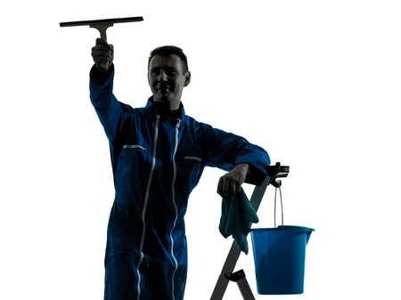 class maintenance: one caucasian man window cleaner  worker silhouette in studio on white background