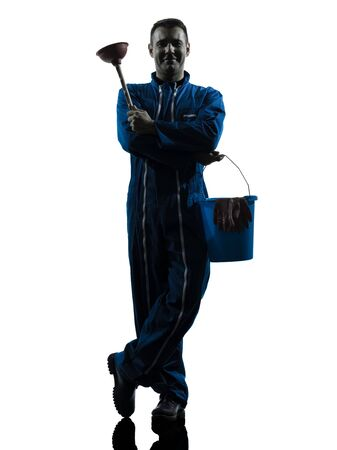 class maintenance: one caucasian janitor cleaner cleaning silhouette in studio on white background