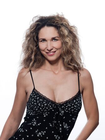 beautiful caucasian woman smile pose portrait wearing summer dress isolated studio on white background photo