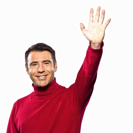 hailing: caucasian man saluting hailing gesture studio portrait on isolated white backgound Stock Photo