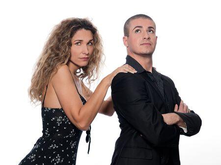 sulk: caucasian couple portrait dispute woman sulk isolated studio on white background Stock Photo