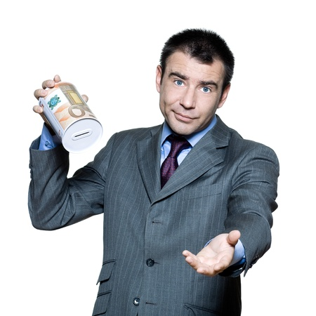 money box: Portrait of sullen  businessman with an empty  money box  in studio on isolated white background