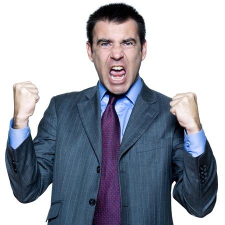 arrogancia: Retrato de un hombre expresivo que grita en estudio en el fondo blanco aislado Foto de archivo