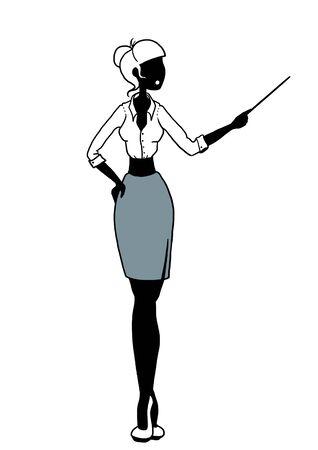 beckon: illustration of a funny stylish woman teacher beckoning on white background