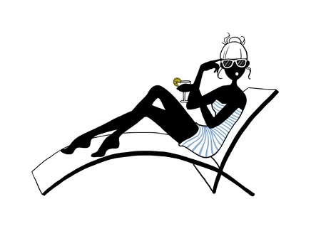 illustration of a funny stylish woman holding a cocktail drink sunbathing sitting in deckchair  on white background illustration