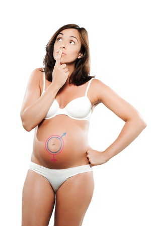 caucasian pregnant woman with heart  drawn on the belly isolated studio on white background photo