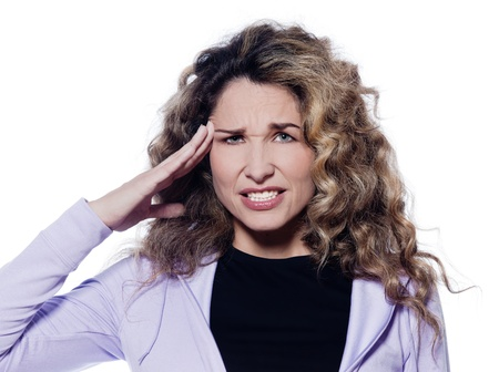 frown: caucasian woman headache portrait isolated studio on white background