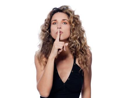 handsign: beautiful caucasian woman shush sign portrait isolated studio on white background Stock Photo