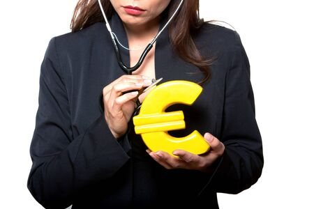 Closeup of woman examining euro in studio isolated on background photo