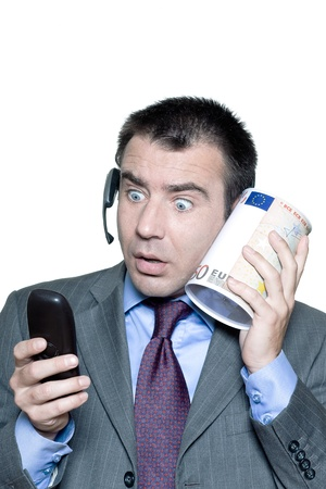Portrait of shocked businessman with phone and money box in studio on isolated white background Stock Photo - 15800896