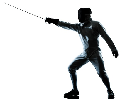 fencing: one man fencing silhouette in studio isolated on white background
