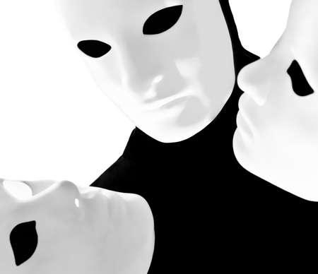 performer man mime with mask on studio isolated on white background photo